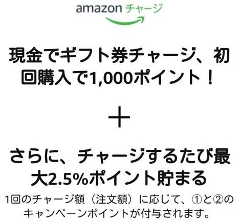 Amazonのギフト券初回チャージキャンペーンとポイント還元