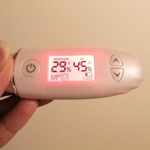 アンプルールのエイジングケア「ラグジュアリー・デ・エイジ」使用1日目の肌の水分と油分