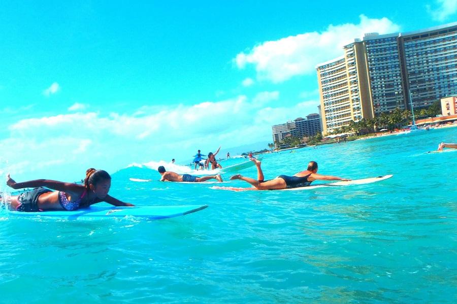 ハワイのサーフィンの波