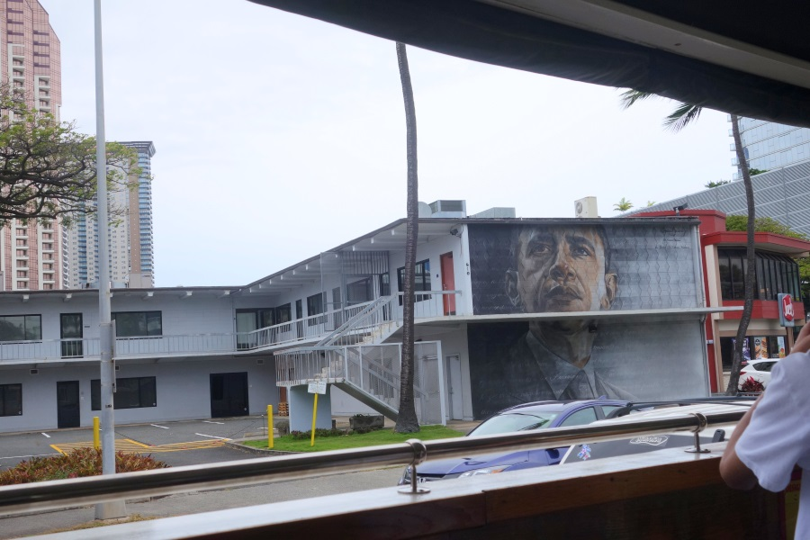 トロリーから見たカカアコのウォールアートの景色