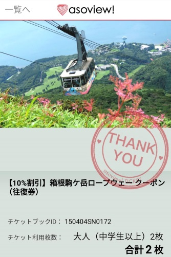 駒ヶ岳ロープウェイのチケット購入画面