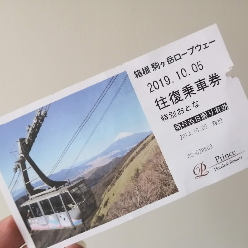 駒ヶ岳ロープウェイの乗車券