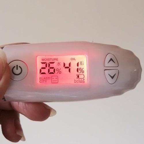 メルヴィータのビオオイル「アルガンオイル」を使う前の肌の水分と油分の量