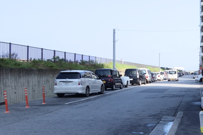 宮城海岸の駐車場