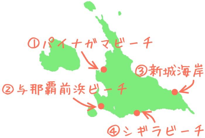 宮古島で海水予期におすすめのビーチの地図