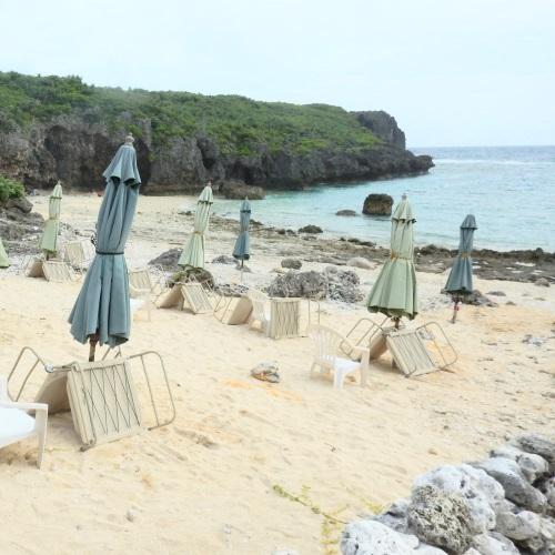 中の島ビーチの砂浜の様子(左側)