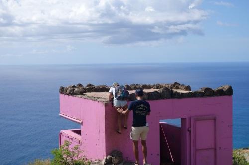 ピンクピルボックスの屋根の上への登り方