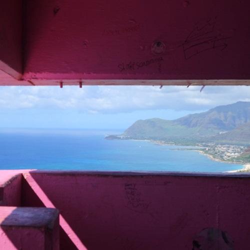 ピンクピルボックスの中からの眺め