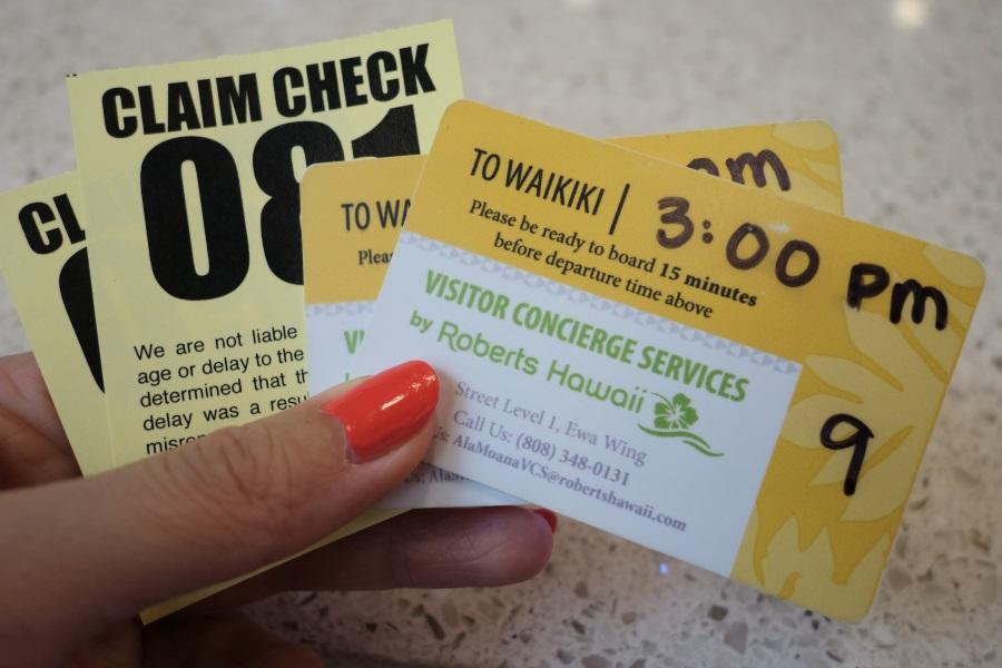 ロバーツハワイアラモアナラウンジのシャトルバスの引換券