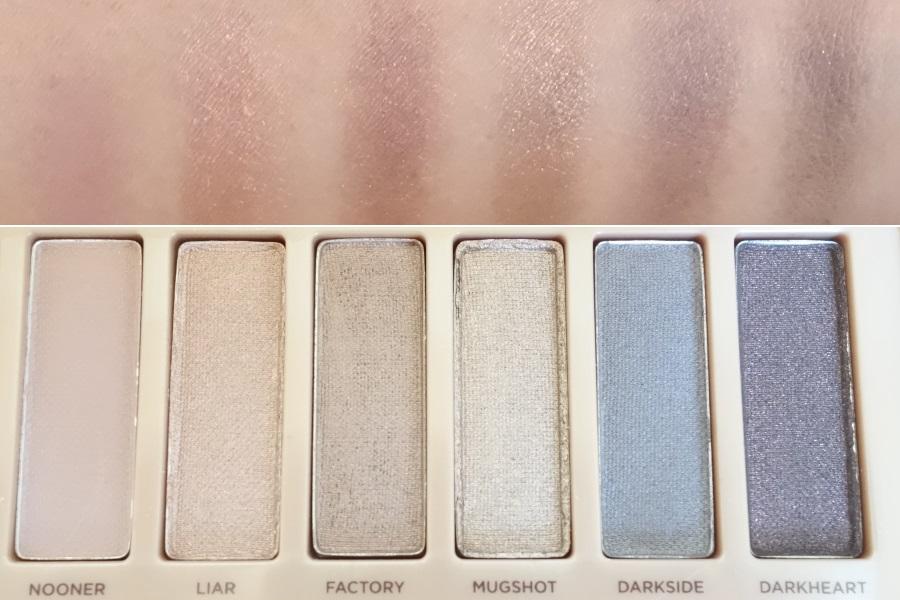 アーバンディケイのアイシャドウパレット「NAKED3」の右半分の色を肌にぬったときの色味