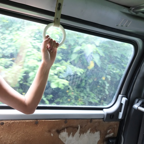 吉野海岸の送迎バスの中